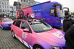 EF Education First at the team presentation in Antwerp before the start of the 2019 Ronde Van Vlaanderen 270km from Antwerp to Oudenaarde, Belgium. 7th April 2019.<br /> Picture: Eoin Clarke | Cyclefile<br /> <br /> All photos usage must carry mandatory copyright credit (&copy; Cyclefile | Eoin Clarke)