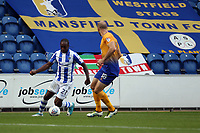 Brandon Hanlan of Colchester United takes on David Mirfin of Mansfield Town during Colchester United vs Mansfield Town, Sky Bet EFL League 2 Football at the Weston Homes Community Stadium on 7th October 2017
