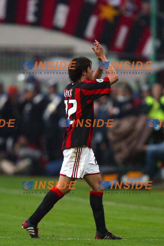 Milano 2/5/2004 Campionato Italiano Serie A - Matchday 32<br /> Milan Roma 1-0 <br /> Milan Campione d'Italia - Milan wins italian championship <br /> Kaka (Milan) applaude i tifosi uscendo dal campo