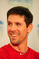 February 14, 2011; Clearwater, FL, USA; Philadelphia Phillies pitcher Cliff Lee at a press conference during spring training at Bright House Networks Field. Mandatory Credit: Mark J. Rebilas-
