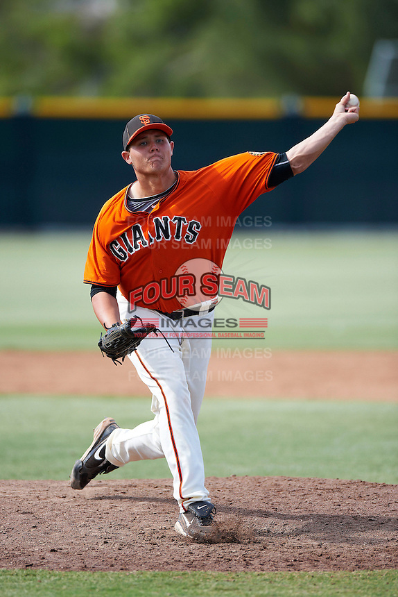 San Francisco Giants minor league pitcher Steven Okert #59 during an instructional league game against the Kansas City Royals at the Giants Baseball Complex on October 18, 2012 in Scottsdale, Arizona. (Mike Janes/Four Seam Images)