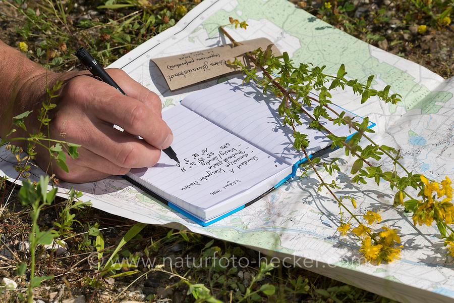 Daten werden notiert, Sammeldaten, Standort, Topografische Karte, Notizblock, Pflanzen sammeln, Pflanzen bestimmen. Botanik, Botanisieren, botany, Herbar, herbaria, Herbarien, herbarisieren, herbier, Pflanzenbestimmung, Pflanzenherbar