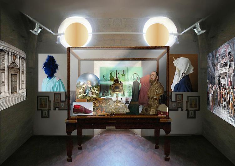 Christian Lacroix, photomontage destin&eacute; &agrave; la sc&eacute;nographie de la salle du Tr&eacute;sor de l&rsquo;abbaye de Montmajour, 2012.<br /> -----<br /> Christian Lacroix, photomontage destined for the scenography of the Abbaye de Montmajour&rsquo;s counting house, 2012.