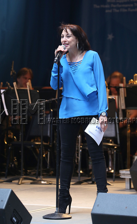Valerie Smaldone on stage at United Airlines Presents #StarsInTheAlley free outdoor concert in Shubert Alley on 6/2/2017 in New York City.