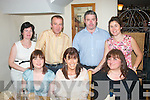 BIRTHDAY: Friends of Rhona Johnston, Hunters Wood, Tralee (seated centre) who dined in Bella Bia restaurant, Tralee last Saturday night to celebrate her birthday. Also seated is Brid Maguire (left) and Nikki Wissell (right). Standing l-r: Liz and Kevin McCarthy, Kieran Foley and Siobhan Ashe.