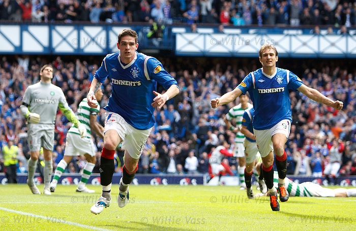 Kyle Lafferty celebrates his goal as Fraser Forster is gutted