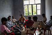 Men of different age groups wait for male vasectomy at the Public Health Centre in Adapur village of Raxaul district of Bihar.
