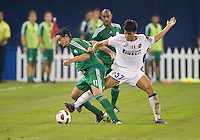 03 August 2010 Panathinaikos FC midfielder Sebastian Eduardo Leto No. 11 and Inter Milan player Felice Natalino No.57 in action during an international friendly  between Inter Milan FC and Panathinaikos FC at the Rogers Centre in Toronto..Final score was 3-2 for  Panathinaikos FC.