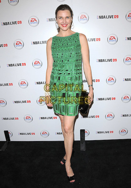 BRENDA STRONG.at The EA Sports Launch Party of NBA Live 09  held at Beso in Hollywood, California, USA, September 26th 2008                                                                     .full length green dress black print sleeveless clutch bag shoes .CAP/DVS.©Debbie VanStory/Capital Pictures