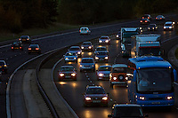 Traffic on M11 Motorway near Harlow, Essex, United Kingdom