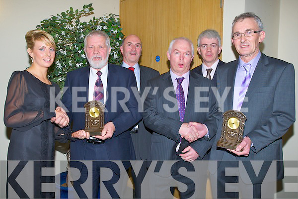 HONOURED: A special presentation was made to Sean Murnane and John Martin Brick for their contribution to the Kilmoyleyy Hurling Club, at the Kilmoyley GAA Social on Saturday night in Ballyroe Heights Hotel, Tralee, L-r: Mary Brick (sec), Sean Murnane, John Martin Brick, Fintan Ryan (chairman), Mark Sullivan (GM Ballyroe Heights Hotel) and Michael Meehan.......... . ............................... ..........