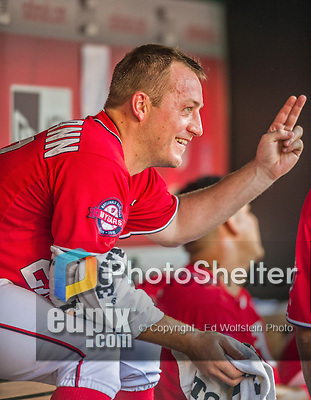 19 September 2015: Washington Nationals starting pitcher Jordan Zimmermann smiles in the dugout during a game against the Miami Marlins at Nationals Park in Washington, DC. The Nationals defeated the Marlins 5-2 in the third game of their 4-game series. Mandatory Credit: Ed Wolfstein Photo *** RAW (NEF) Image File Available ***