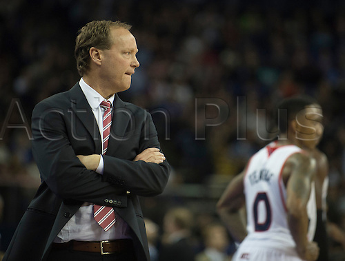 16.01.2014 London, England.  Atlanta Hawks' Mike Budenholzer [Head Coach] walks the side line during the NBA regular season game between the Atlanta Hawks and the Brooklyn Nets from the O2 Arena.