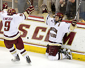 Barry Almeida (BC - 9), Matt Lombardi (BC - 24) - The Boston College Eagles defeated the University of Massachusetts-Amherst Minutemen 5-2 on Saturday, March 13, 2010, at Conte Forum in Chestnut Hill, Massachusetts, to sweep their Hockey East Quarterfinals matchup.