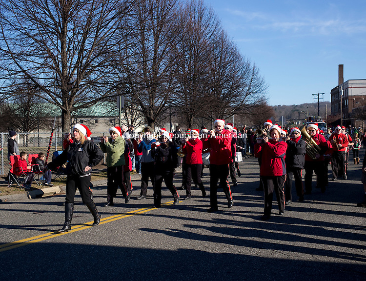 Torrington, CT- 06 December 2015-120615CM04-  The St Peter's Drum Corps perform during the annual Torrington Christmas parade on Sunday. The event kicked off the opening of town's 68th year of the Christmas Village.   Christopher Massa Republican-American