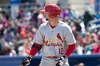 Scott Moore (12) of the Memphis Redbirds at bat against the Omaha Storm Chasers in Pacific Coast League action at Werner Park on April 22, 2015 in Papillion, Nebraska.  (Stephen Smith/Four Seam Images)