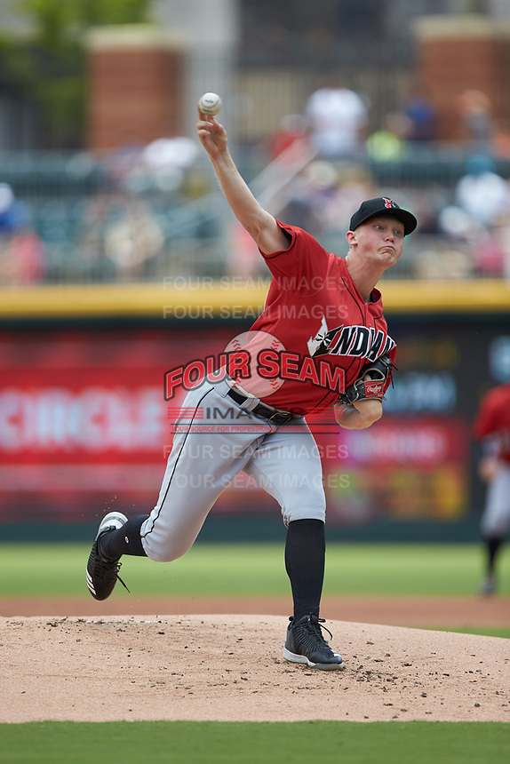 Indianapolis Indians starting pitcher Mitch Keller (49) delivers a pitch to the plate against the Charlotte Knights at BB&T BallPark on August 22, 2018 in Charlotte, North Carolina.  The Indians defeated the Knights 6-4 in 11 innings.  (Brian Westerholt/Four Seam Images)
