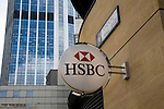 HSBC bank sign, London Wall, London EC2, England