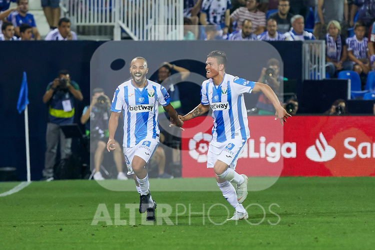 Leganes' players celebrate goal during La Liga match. August 24, 2018. (ALTERPHOTOS/A. Perez Meca)