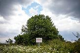 """Ein Schild mit der Aufschrift """"Vorsicht Staatsgrenze"""" in einem Feld in der Nähe der ehemaligen Grenzstation in Dolni Dvoriste - von 1955 bis 1989 lag der Ort am Eisernen Vorhang."""