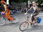 Brightly painted nude bicycle riders delight the crowd during the 21st  Annual Fremont Summer Solstice Parade in Seattle on June 21, 2009.  The parade was held Saturday, bringing out painted and naked bicyclists, bands, belly dancers and floats. (Jim Bryant Photo © 2009)