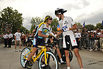 Lance Armstrong (USA) Astana wishes White Jersey holder Andy Schleck (LUX) Team Saxo Bank luck before the start Stage 18 of the Tour de France 2009 an individual time trial running 40.5km around Lake Annecy, France. 23rd July 2009 (Photo by Eoin Clarke/NEWSFILE)