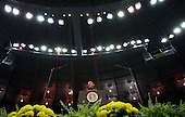 South Bend, IN - May 17, 2009 -- United States President Barack Obama addresses the Notre Dame University graduating class of 2009 during the 164th commencement ceremonies on the campus of Notre Dame University in South Bend, Indiana May 17, 2009. Obama received an honorary law degree from the university during the commencement. .Credit: Jeff Haynes / Pool via CNP