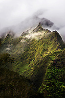 Ko'olau Mountains on O'ahu on a foggy morning