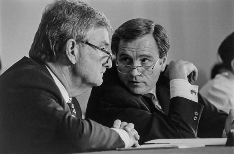 Rep. Charlie Rose, D-N.C., comes in for a few minutes to House Administrations Subcommittee on office systems, confers with Rep. Jerry Kleczka, D-Wis., and departments House Administration room on July 27, 1993. (Photo by Maureen Keating/CQ Roll Call via Getty Images)