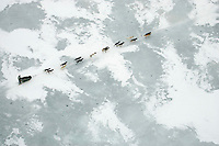 Aerial of Sled Dog Team Crossing Farewell Lake 2005 Iditarod