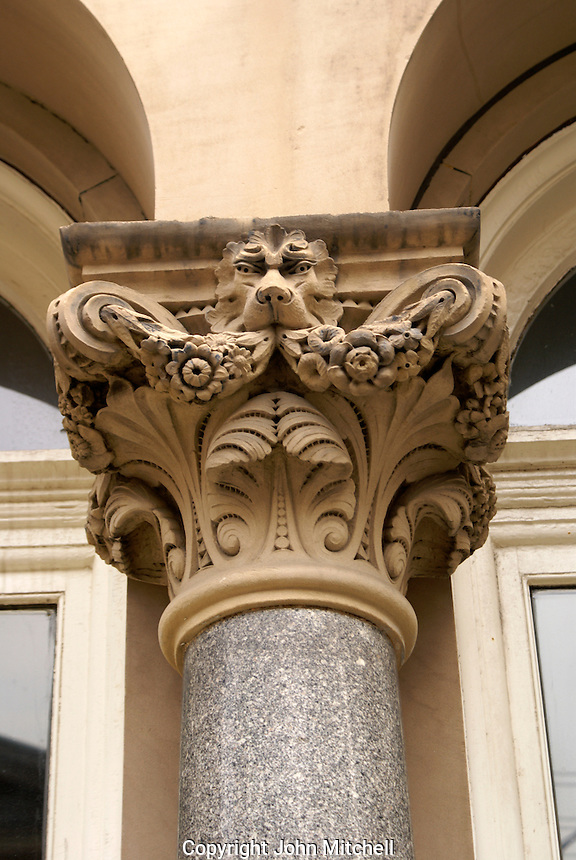 Ornately decorated column on a Victorian building in the city of Saint John, New Brunswick, Canada