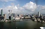Singapore waterfront along Marina Bay from top of Marina Bay Sands hotel