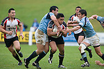Male Sa'u gets plenty of attention from Josh Levi. Air New Zealand Cup pre-season rugby game between the Counties Manukau Steelers & Northland, played at Growers Stadium on July 21st, 2007. Counties Manukau won 28 - 17.