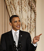 United States President Barack Obama delivers remarks at the Diplomatic Corps Holiday Reception at the State Department, December 13, 2010 in Washington, DC. The State Departement was bruised by the release last month of some of the 250,000 diplomatic cables obtained by the whistleblower Web site Wikileaks. .Credit: Chip Somodevilla - Pool via CNP