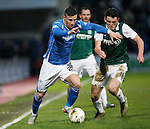 Hibs v St Johnstone...30.01.16   Utilita Scottish League Cup Semi-Final, Tynecastle..<br /> Michael O'Halloran and John McGinn<br /> Picture by Graeme Hart.<br /> Copyright Perthshire Picture Agency<br /> Tel: 01738 623350  Mobile: 07990 594431