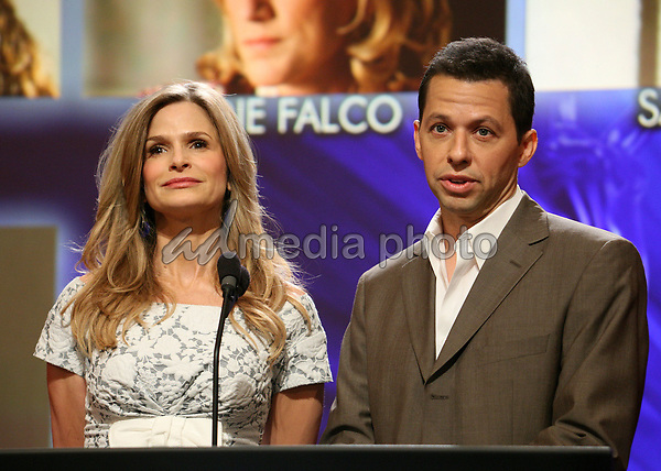 19 July 2007 - North Hollywood, California - Kyra Sedgwick and Jon Cryer. 59th Primetime Emmy Awards Nominations Announcements at the Leonard H. Goldenson Theatre. Photo Credit: Byron Purvis/AdMedia
