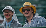 LOUISVILLE, KY - MAY 05: Spectators wear ponchos to protect themselves from the rain on Kentucky Derby Day at Churchill Downs on May 5, 2018 in Louisville, Kentucky. (Photo by Eric Patterson/Eclipse Sportswire/Getty Images)