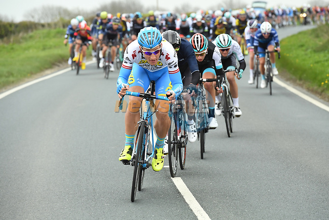 Gatis Smukulis Delko Marseille Provence KTM on the front of the peloton during Stage 2 of the Tour de Yorkshire 2017 running 122.5km from Tadcaster to Harrogate, England. 29th April 2017. <br /> Picture: ASO/A.Broadway | Cyclefile<br /> <br /> <br /> All photos usage must carry mandatory copyright credit (&copy; Cyclefile | ASO/A.Broadway)