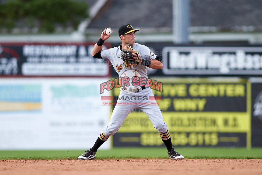 West Virginia Black Bears shortstop Erik Forgione (7) throws to first during a game against the Batavia Muckdogs on August 21, 2016 at Dwyer Stadium in Batavia, New York.  West Virginia defeated Batavia 6-5.  (Mike Janes/Four Seam Images)