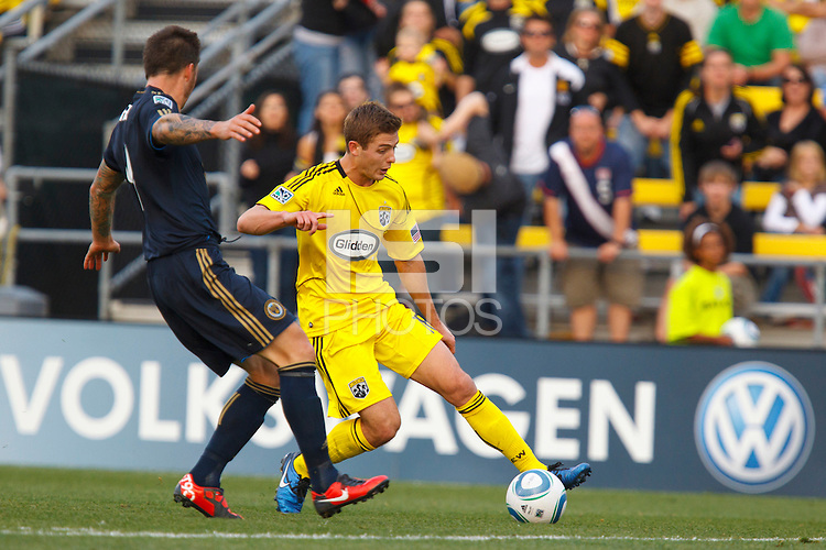 24 OCTOBER 2010:  Philadelphia Union defender Danny Califf (4) and Columbus Crew midfielder/forward Robbie Rogers (18) during MLS soccer game at Crew Stadium in Columbus, Ohio on August 28, 2010.