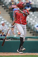 Altoona Curve outfielder Josh Bell (35) during game against the Trenton Thunder at ARM & HAMMER Park on August 6, 2014 in Trenton, NJ.  Trenton defeated Altoona 7-3.  (Tomasso DeRosa/Four Seam Images)