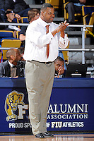 25 February 2010:  FIU Associate Head Coach Anthony Anderson encourages his players during the second half as the Middle Tennessee Blue Raiders defeated the FIU Golden Panthers, 74-71, at the U.S. Century Bank Arena in Miami, Florida.