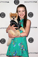 LOS ANGELES, CA - AUGUST 11: Symonne Harrison, Bentley the Pom, at Beautycon Festival Los Angeles 2019 - Day 2 at Los Angeles Convention Center in Los Angeles, California on August 11, 2019. <br /> CAP/MPIFS<br /> ©MPIFS/Capital Pictures