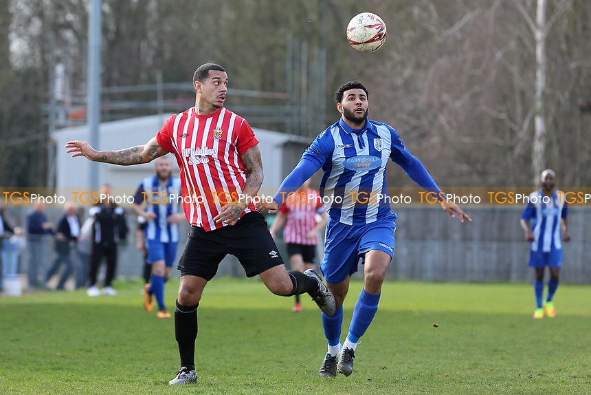 Leon McKenzie of Hornchurch and Anthony Furlonge of Ware during Ware vs AFC Hornchurch, Ryman League Division 1 North Football at Wodson Park on 11th March 2017
