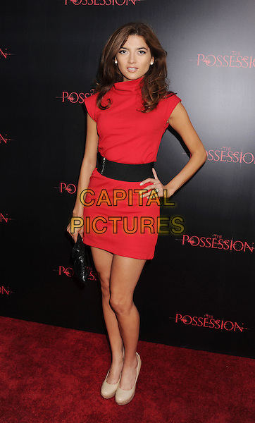 "Blanca Blanco.""The Possession"" Los Angeles Premiere held at Arclight Cinemas, Hollywood, California, USA..August 28th, 2012.full length dress black red sleeveless belt beige shoes hand on hip .CAP/ROT/TM.©Tony Michaels/Roth Stock/Capital Pictures"