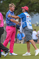 Trey Mullinax (USA) shakes hands following his course record 62 during Round 3 of the Valero Texas Open, AT&amp;T Oaks Course, TPC San Antonio, San Antonio, Texas, USA. 4/21/2018.<br /> Picture: Golffile | Ken Murray<br /> <br /> <br /> All photo usage must carry mandatory copyright credit (&copy; Golffile | Ken Murray)