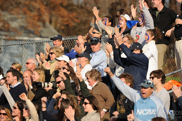 20 NOV 2011:  Middlebury College fans celebrate after Middlebury athlete Hannah Clarke scored during the Division III Women's Field Hockey Championship held at Vendetti Field on the Nichols College campus in Dudley, MA.  The College of NJ defeated Middlebury 3-1 to win the national title.  Gil Talbot/ NCAA Photos.
