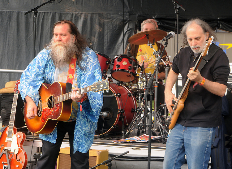 Phil Void, and Marc Dann (with drummer, Franklin Kiermyer in background) of the Dharma Bums, who were the opening act on the West Stage of the Mountain Jam Music Festival of 2015, in Hunter, NY, on Thursday June 4, 2015. Photo by Jim Peppler. Copyright Jim Peppler 2015.