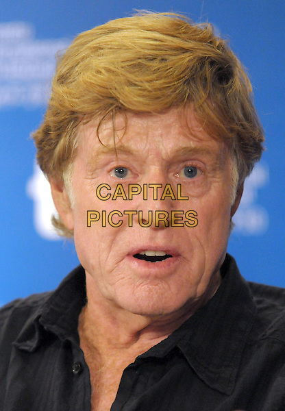 "ROBERT REDFORD .""The Conspirator"" Press Conference during the 2010 Toronto International Film Festival held at the Hyatt Regency, Toronto, Ontario, Canada, 11th September 2010..portrait headshot  black shirt mouth open funny .CAP/ADM/BPC.©Brent Perniac/AdMedia/Capital Pictures."