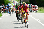 10km and the break tries to form featuring Spanish National Champion Jesús Herrada (ESP) Cofidis, Thomas De Gendt (BEL) Lotto-Soudal and Maillot Vert Daryl Impey (RSA) Mitchelton-Scott during Stage 4 of the 2018 Criterium du Dauphine 2018 running 181km from Chazey sur Ain to Lans en Vercors, France. 7th June 2018.<br /> Picture: ASO/Alex Broadway | Cyclefile<br /> <br /> <br /> All photos usage must carry mandatory copyright credit (© Cyclefile | ASO/Alex Broadway)